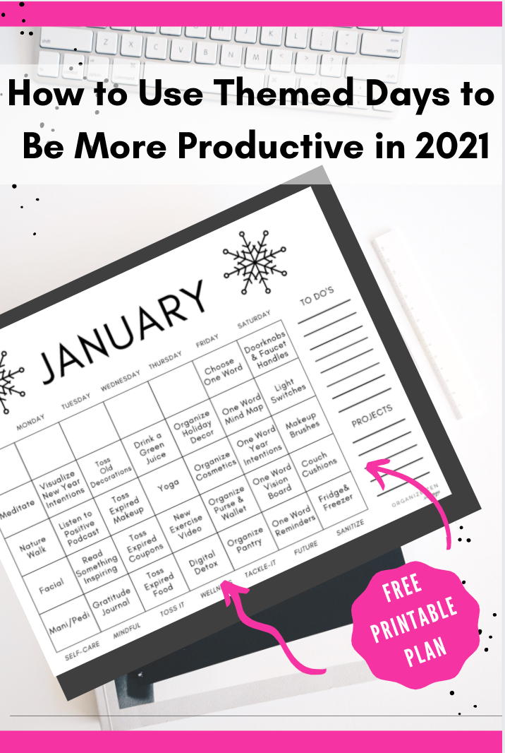 Themed Printable January Calendar