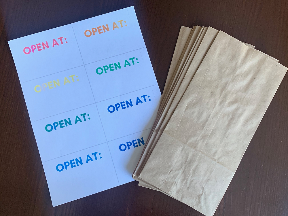 """Brown Lunch sack bag with printable """"open at"""" tags"""