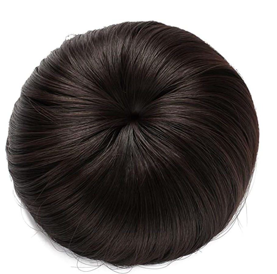 Fake bun of dark brown hair