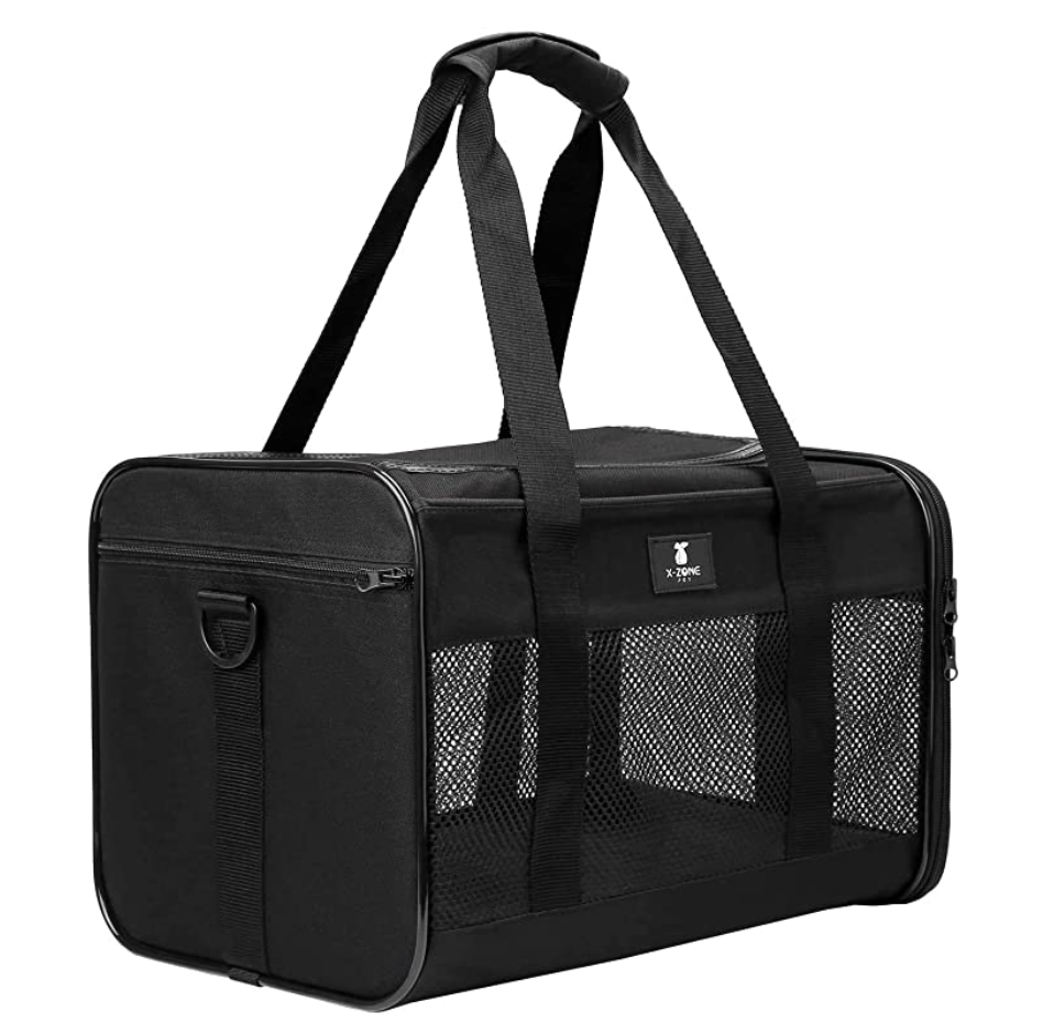Black pet carrier for dogs and cats