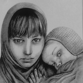 Portrait of woman and child