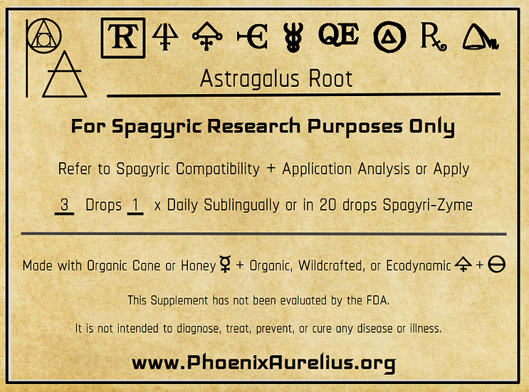 Astragalus Root Spagyric Tincture