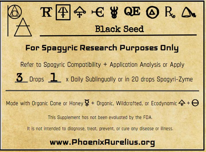 Black Seed Spagyric Essence per Destillatio