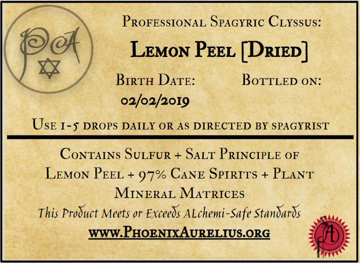Lemon Peel Dried Spagyric Tincture