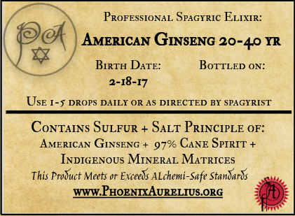 Spagyric Elixir of American Ginseng 20-40yr old Root