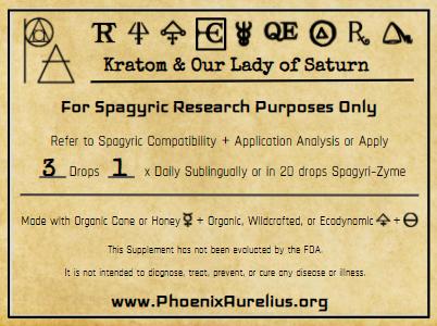 Kratom & Our Lady of Saturn Spagyric Elixir
