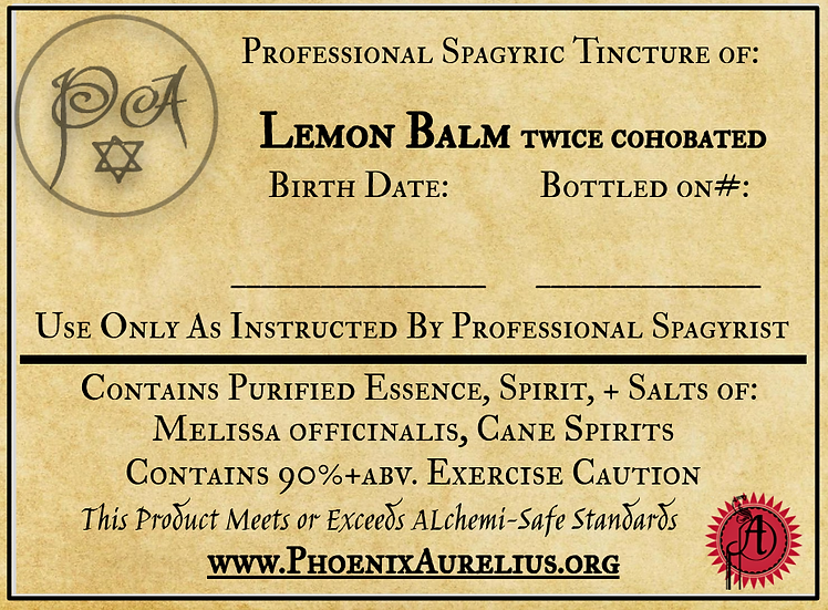 Lemon Balm Cohobated & Saturated Spagyric Tincture
