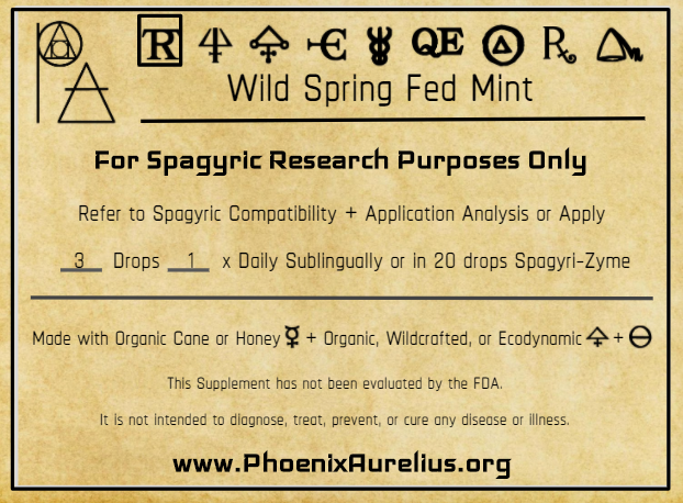 Wild Spring Fed Mint Spagyric Tincture