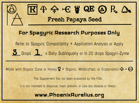 Fresh Papaya Seed Spagyric Tincture