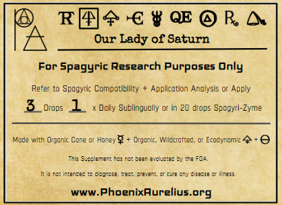 Our Lady of Saturn Spagyric Essence Per Destillatio