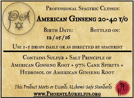 Spagyric Clyssus of American Ginseng 20-40yr old Root