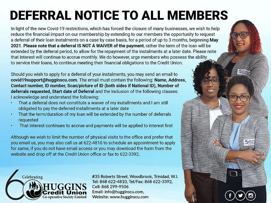 Huggins Covid-19 Deferral Notice May 202