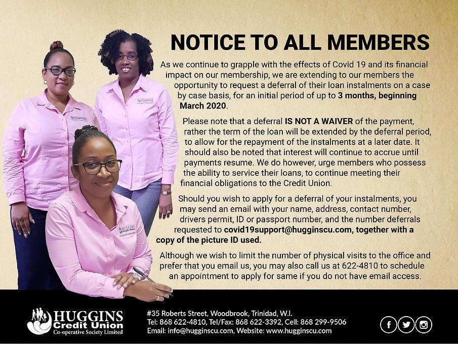 Huggins Covid-19 Deferral Notice March 2