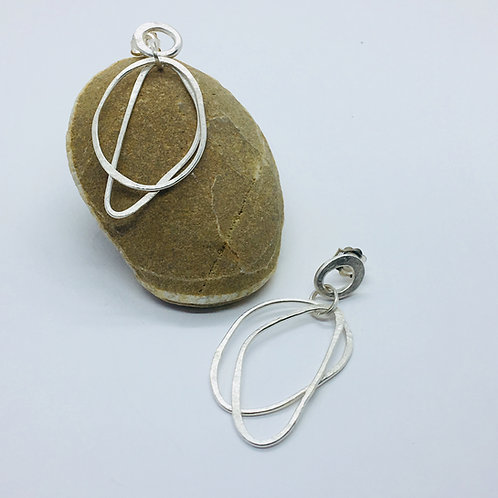 Silver pebble hoops