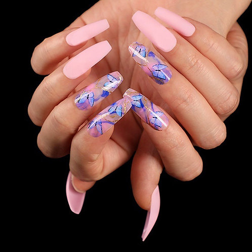 Pink Butterfly Design Coffin Press On Nails