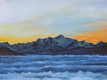 Mont-Blanc sur mer de brouillard