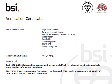 PAS 1192-2:2013 certificate from BSI renewed once again