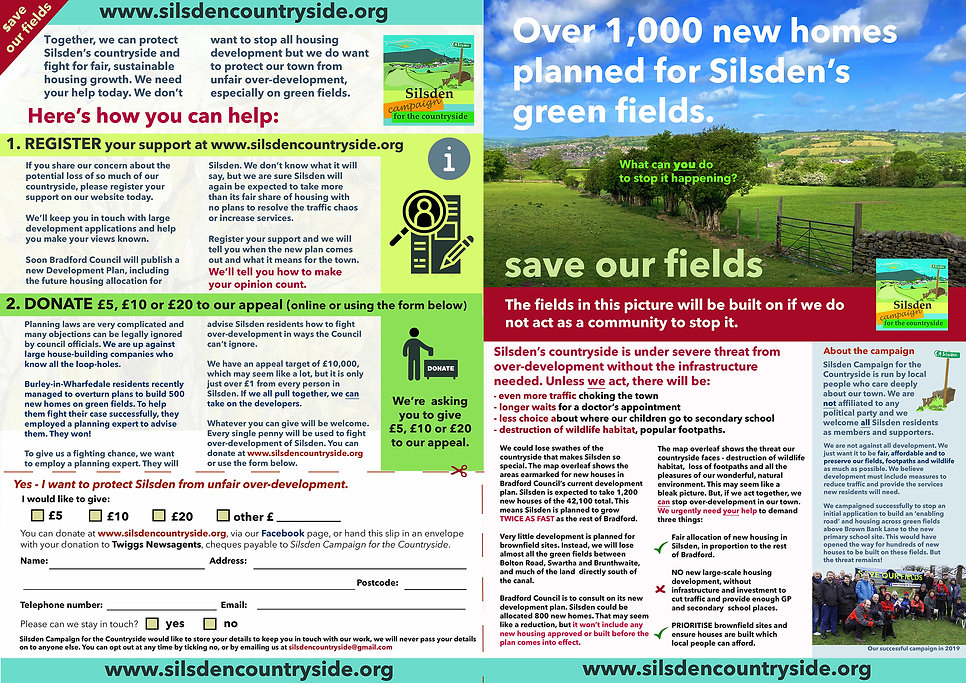 Save our fields. What you can do to stop over-development in Silsden.