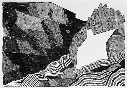 black and white pen and ink drawing of st govans chapel, pembrokeshire
