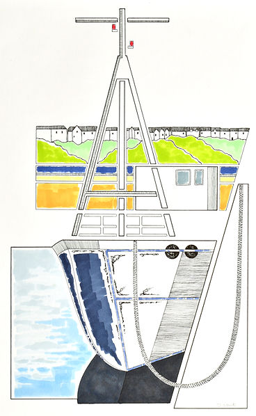 abstract pen and ink drawing of the boat, the lady kate moored at milford haven marina