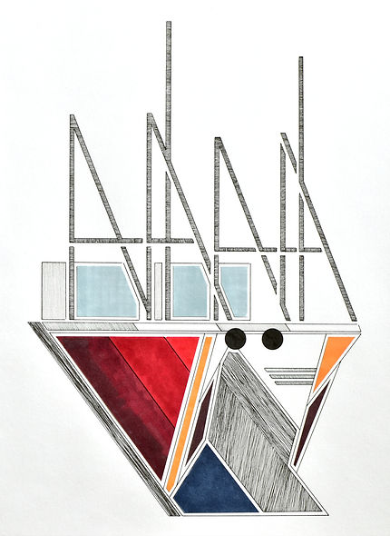 abstract pen and ink collage of two trawlers moored at milford haven marina