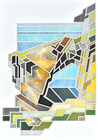 colour pen and ink collage of the green bridge of wales