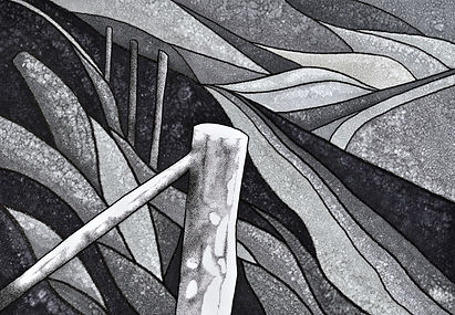black and grey pen and ink drawing of four fence posts along the wales coast path abover freshwater west beach..