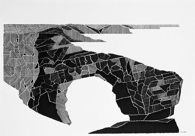 black and white, pen and ink drawing of the green bridge of wales.