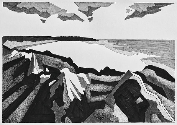 abstract pen and ink drawing of rocks along the wales coast path above freshwater west beach.