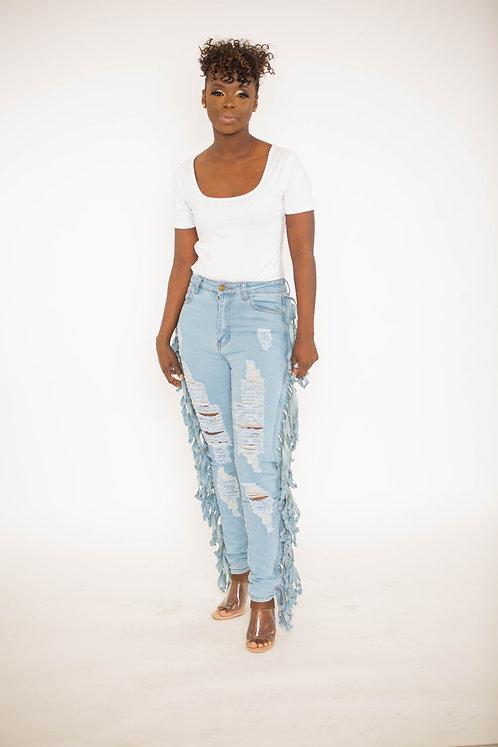Ribbed Denim Jeans