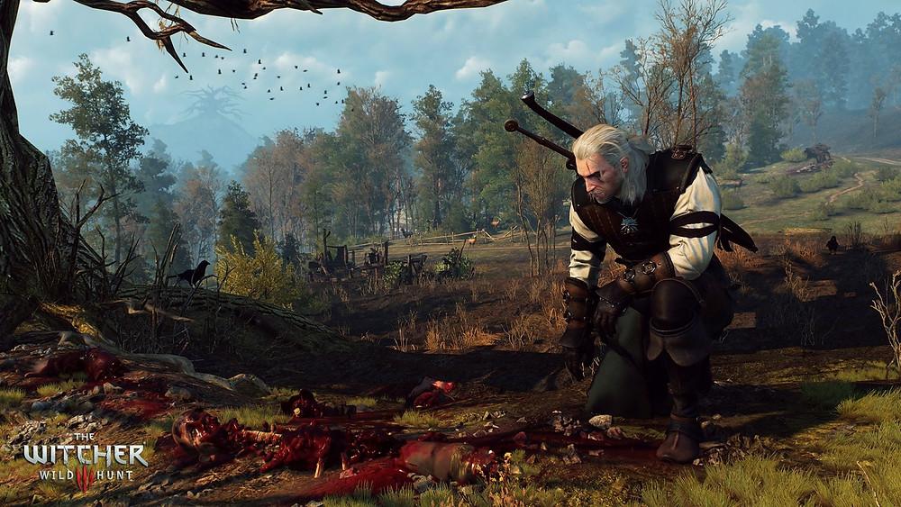 Geralt von Riva beim Spurenlesen im Hexer-Epos The Witcher 3: Wild Hunt