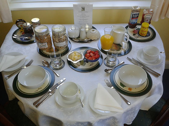 Forest Gate Bed and Breakfast table set for breakfast