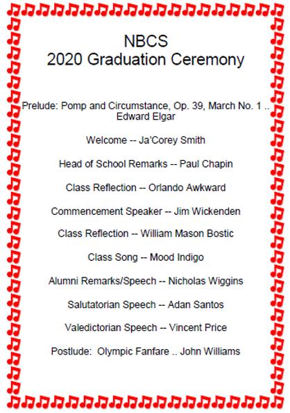 2020 Graduation program