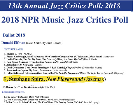 Honored and proud to be featured in NPR 13th Annual Jazz Critics Poll (2018) - Fier et Honoré de fig