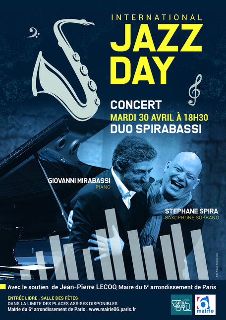 """SPIRABASSI""  in Paris for INTERNATIONAL JAZZ DAY -April 30th @ 18h30 with new originals t"