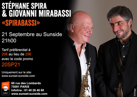 PARIS NEXT SEPTEMBER 21 ST 2017@ 9 PM WITH Giovanni Mirabassi - 21 SEPTEMBRE A PARIS AU SUNSIDE - 21