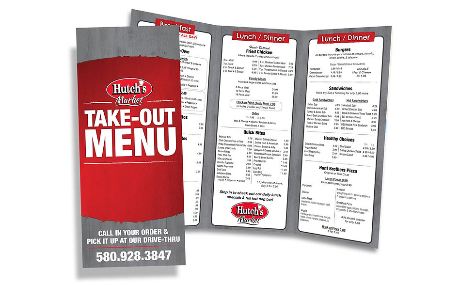 Restaurant Takeout Menu