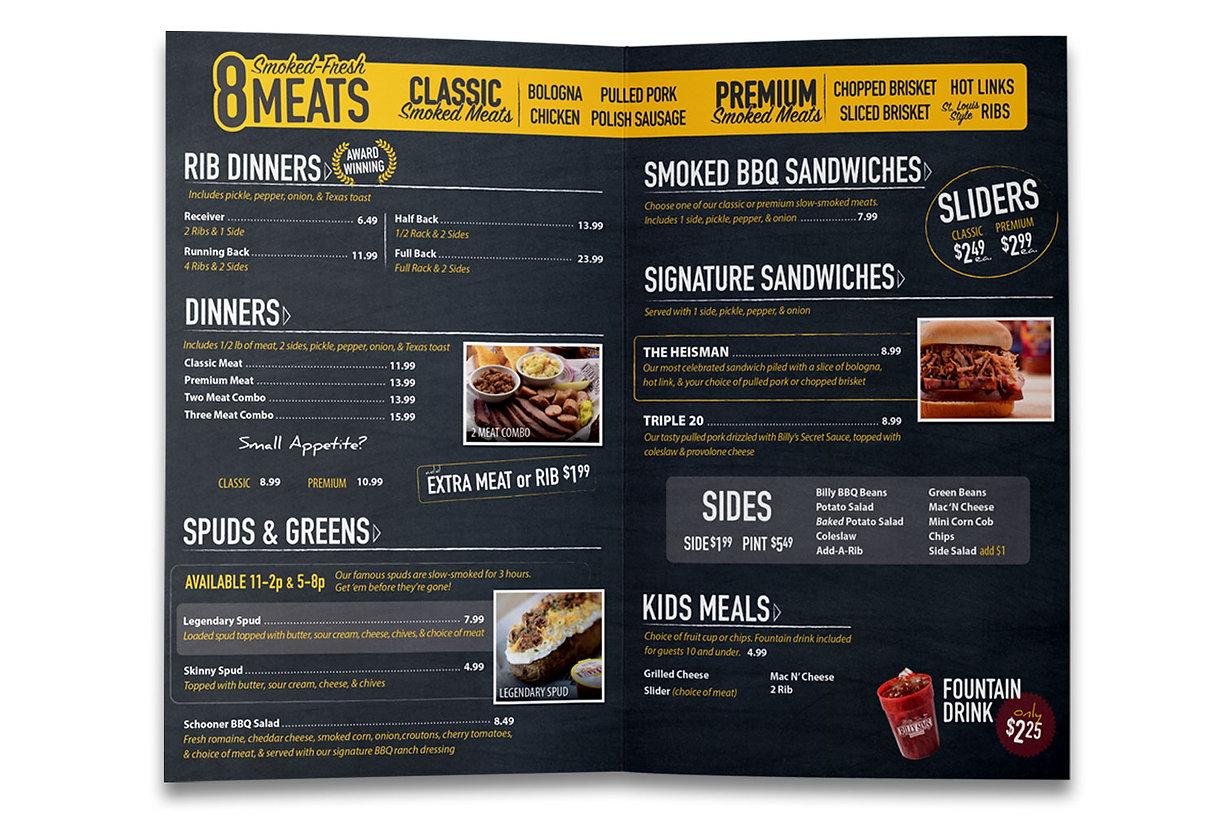 BBQ Restaurant Takeout Menu