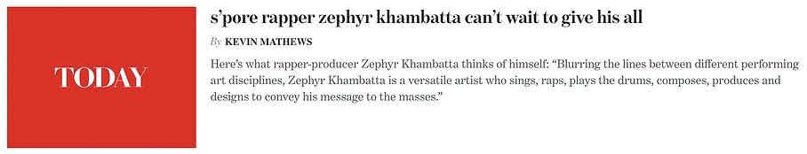 Drum Lessons Singapore - Zephyr Khambattambatta Today Online Interview