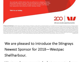 Westpac Shellharbour - Sponsoring Stingrays in 2018