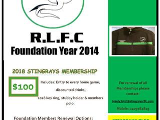 2018 Stingrays RLFC Membership