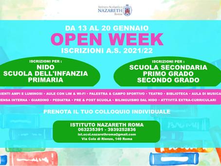 Open Week Iscrizioni • Nido | Infanzia | Primaria | Secondaria I° e II° grado | A.S. 2021/22