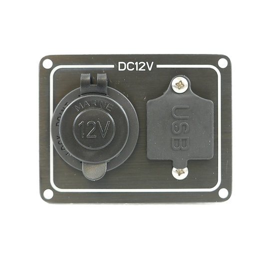 Cigarette Socket and Dual USB Power Panel, IP65 rated