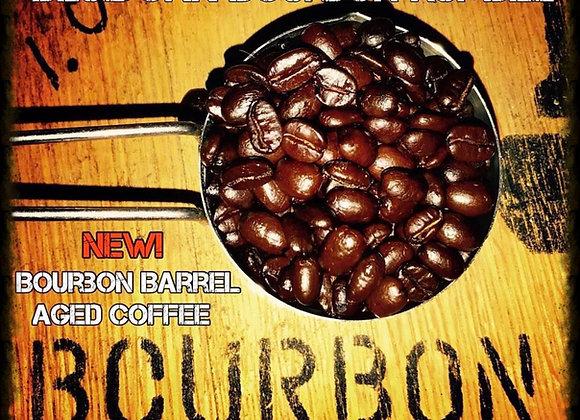 bourbon barrel aged coffee, bourbon aged, coffee, whiskey coffee