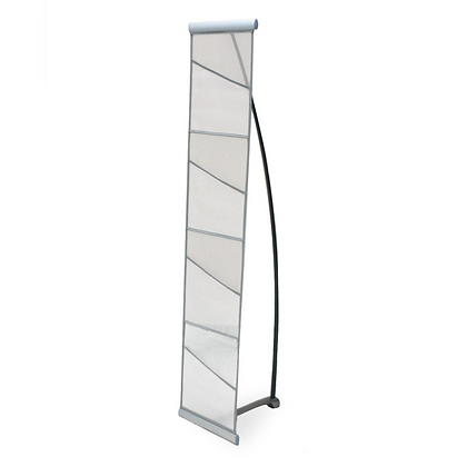 Silver Fabric Literature Rack Four Pockets