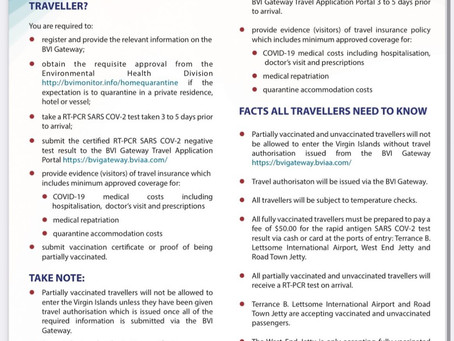 BVI Updated Protocols for Travelers that are Partially Vaccinated as of October 1st, 2021