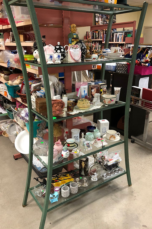 Art Deco Style Metal and Glass Shelving Unit