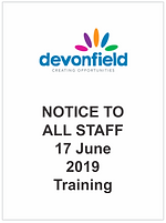 NOTICE TO ALL STAFF 17 June 2019 Trainin