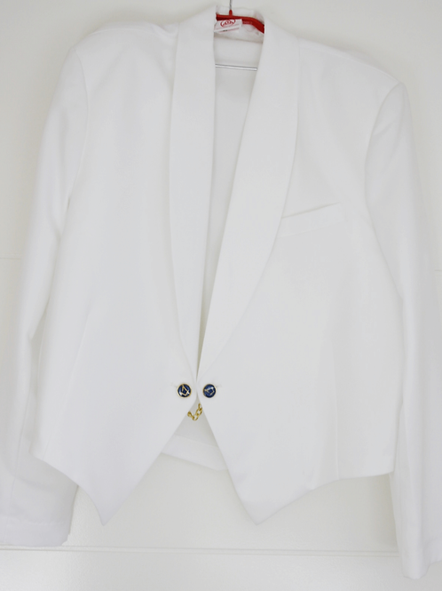 White and Black Dress Jackets with Jigger Buttons