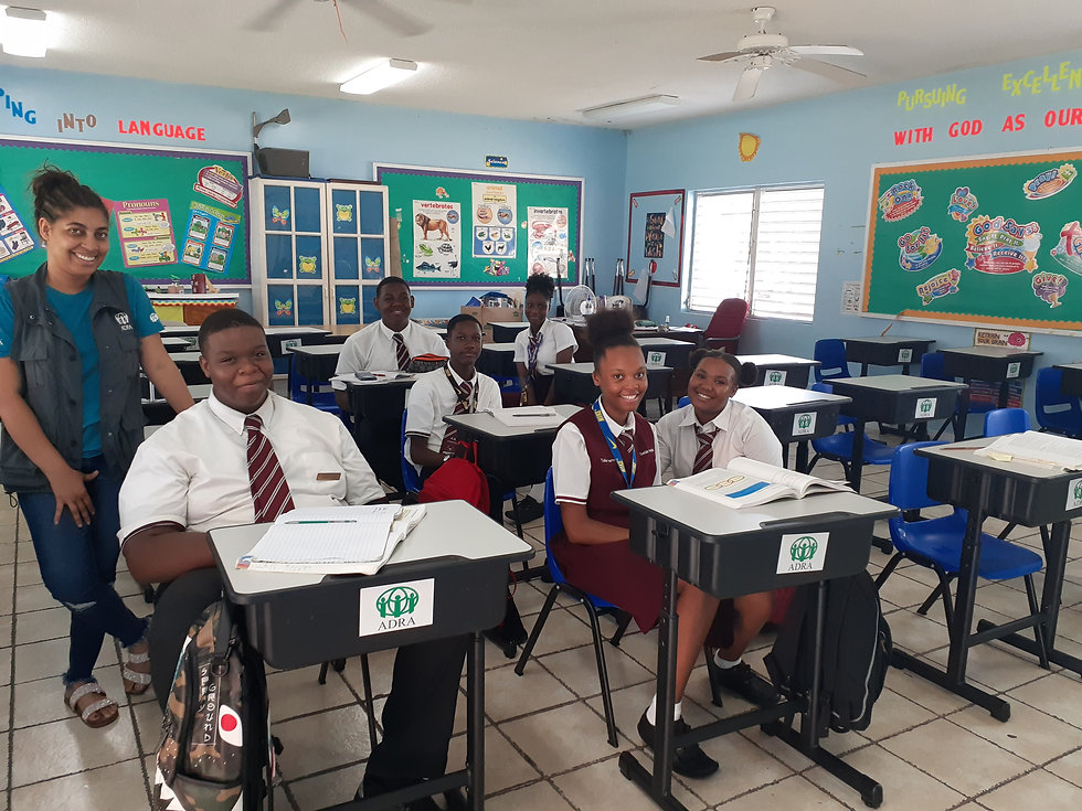 GBA desk & chair - Rosanna with students